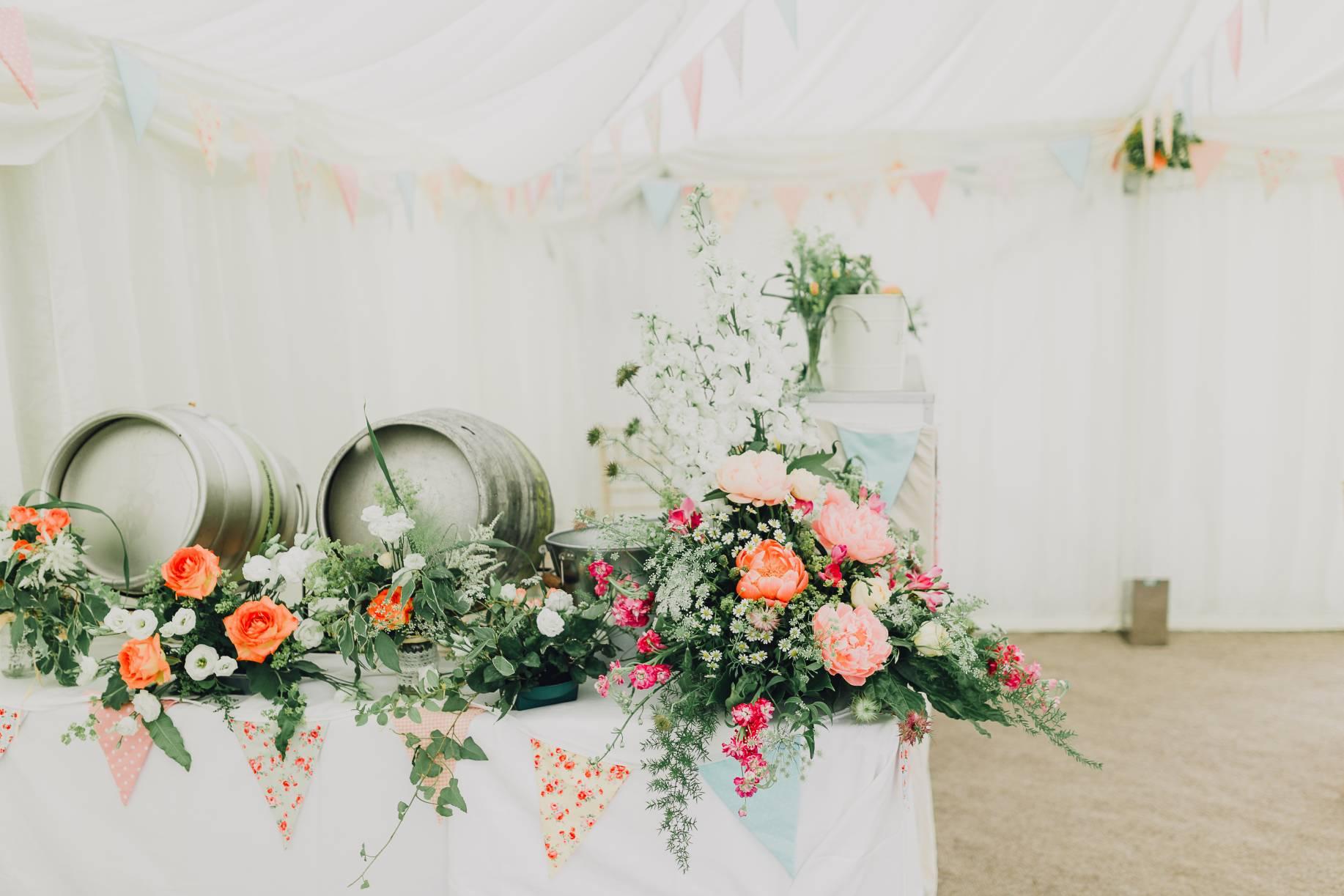 Beer kegs, flowers, celebration, party, vintage, modern wedding location