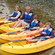 family with canoes Nepeans