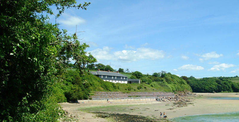 Coastguards cottages viewed from the beach
