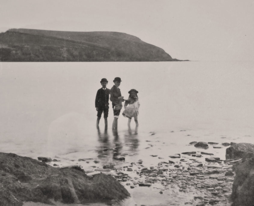 Victorian children paddling at Mothecombe Beach