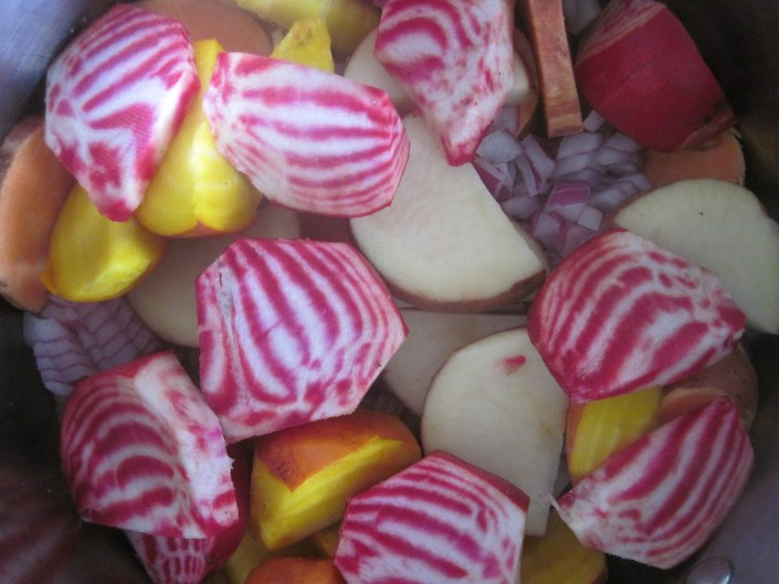 Multicoloured beetroots