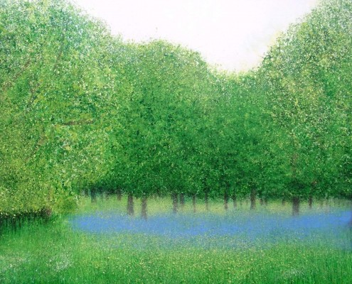 Painting of bluebells at Efford