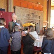 Flete House - School children meeting Anthony Mildmay-White