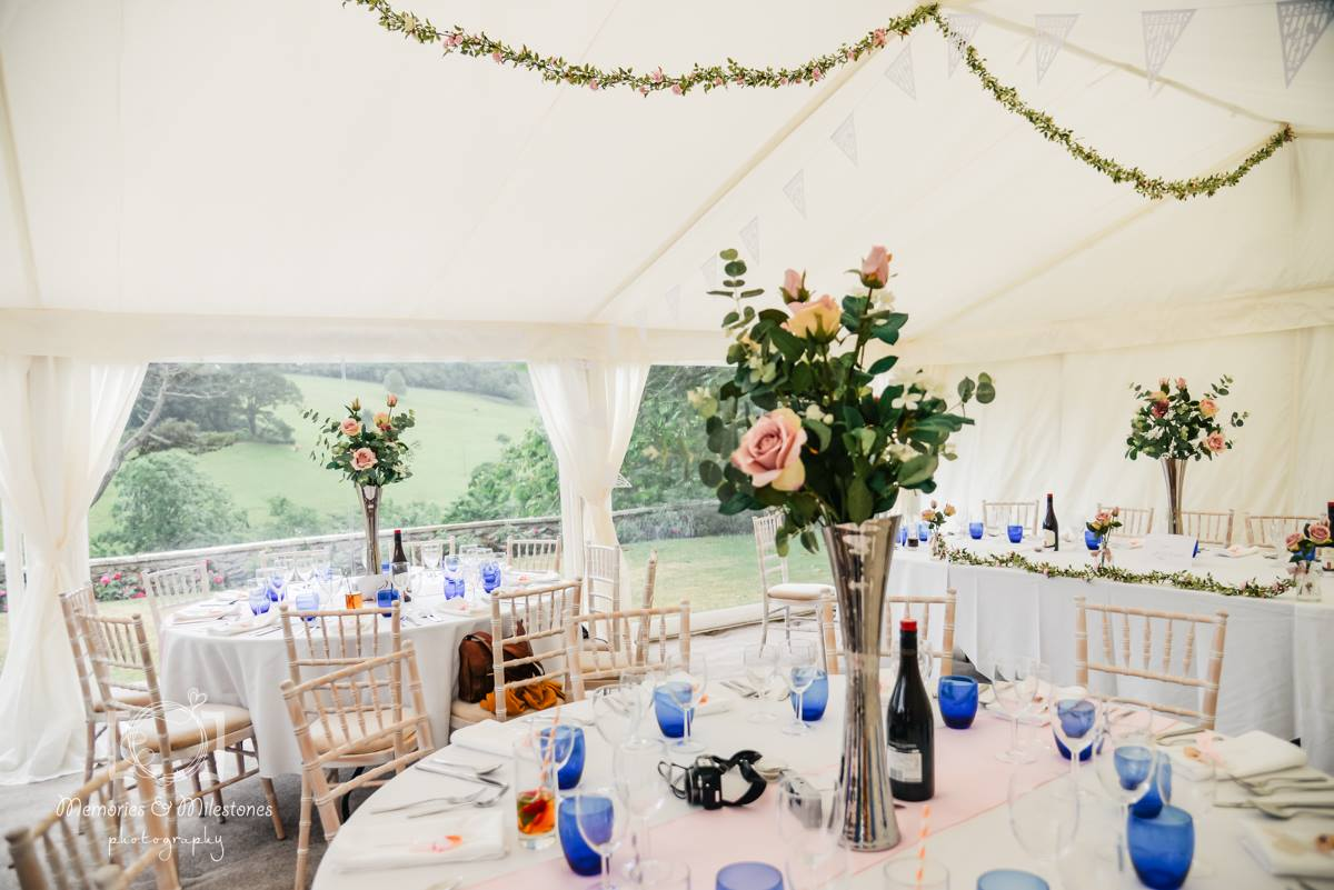 Marquee set up on the lawn at Pamflete House, Flete Estate