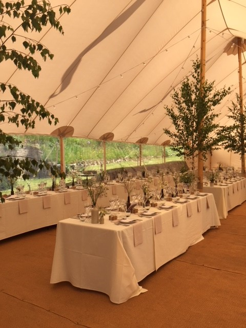 Effective marquee styling at Pamflete House, Flete Estate
